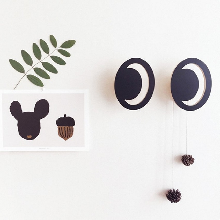 Cute eyes wooden hook for kids room wall decorate eco for Wall hooks for kids room