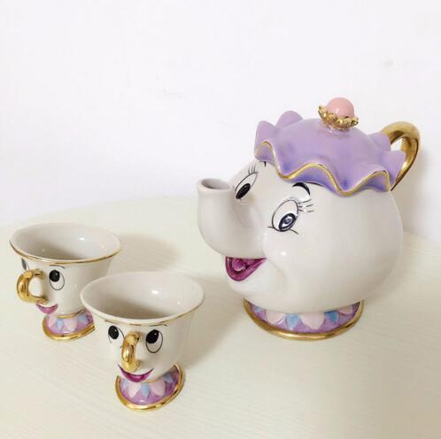 1 POT 2 CUPS Cartoon Beauty And The Beast Tea Set Taza Bela E A