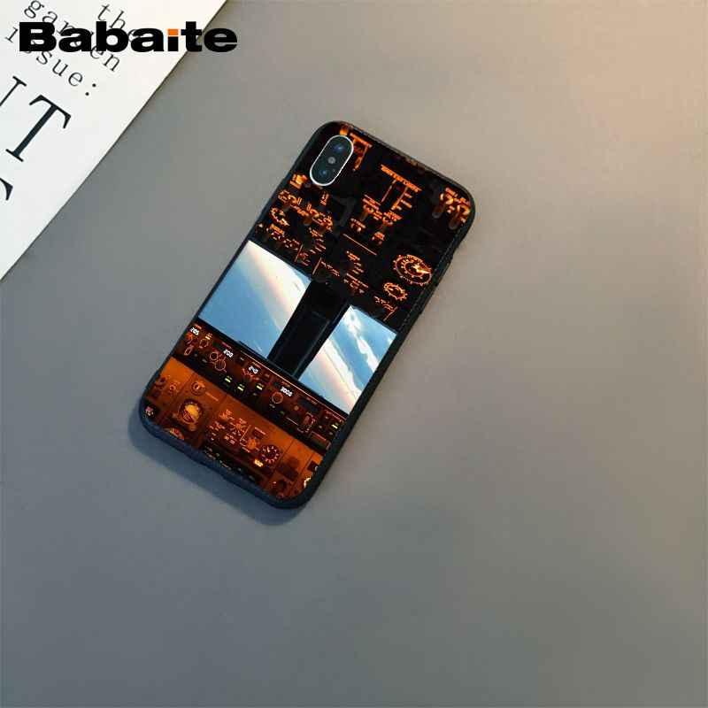 Babaite 航空機飛行機コックピット tpu ソフトシリコン黒電話ケース用 8 7 6 6 s プラス x xs 最大 5 5 s 、 se xr カバー
