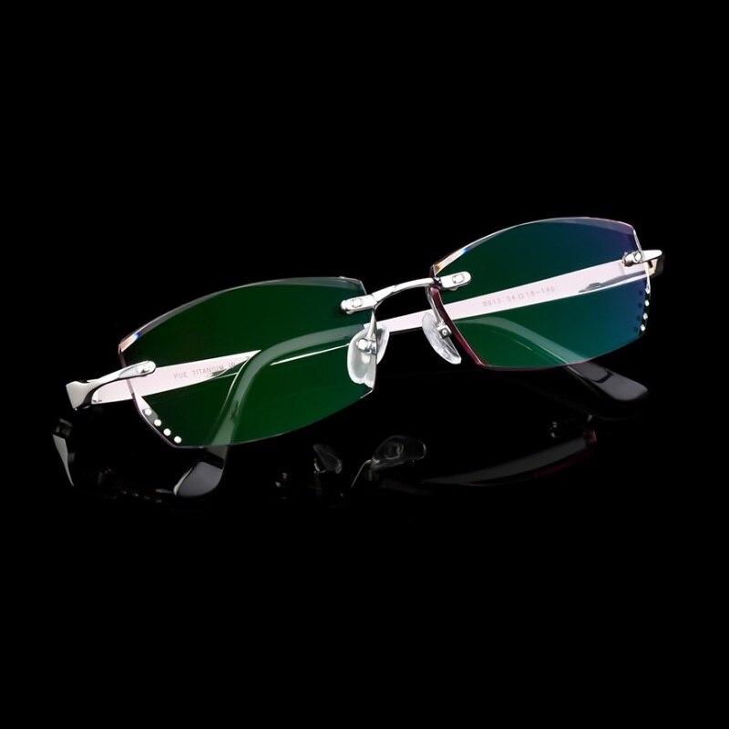 Largeur-142 lunettes assemblage titanium gradient couleur MR-8 lentilles hommes mâle sans monture myopie fini prescription lunettes cadre