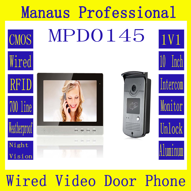D145b High Quality Wired RFID Magnetic Lock One to One Video doorphone,Smarthome 10 '' TFT color digital video door phone system 7 inch video doorbell tft lcd hd screen wired video doorphone for villa one monitor with one metal outdoor unit night vision