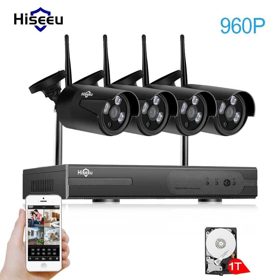 Hiseeu Wireless cctv Sistema di telecamere 960 P 4ch 1.3MP Telecamera ip esterna impermeabile P2P Home Security Kit Sistema di videosorveglianza