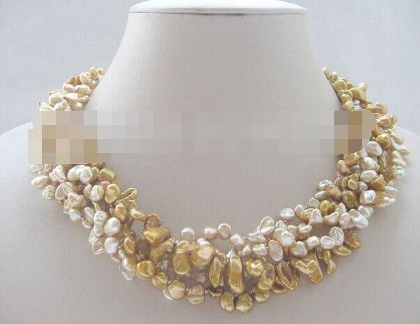 10769 5row Champagne & lumière café baroque keshi reborn perle d'eau douce collier
