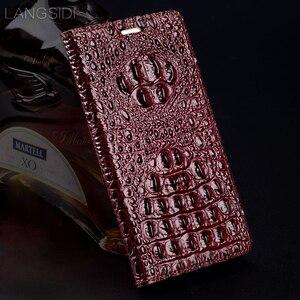 Image 2 - Wangcangli genuíno caso telefone flip de couro de Crocodilo textura de volta Para Gionee GN5002 All caso do telefone artesanal