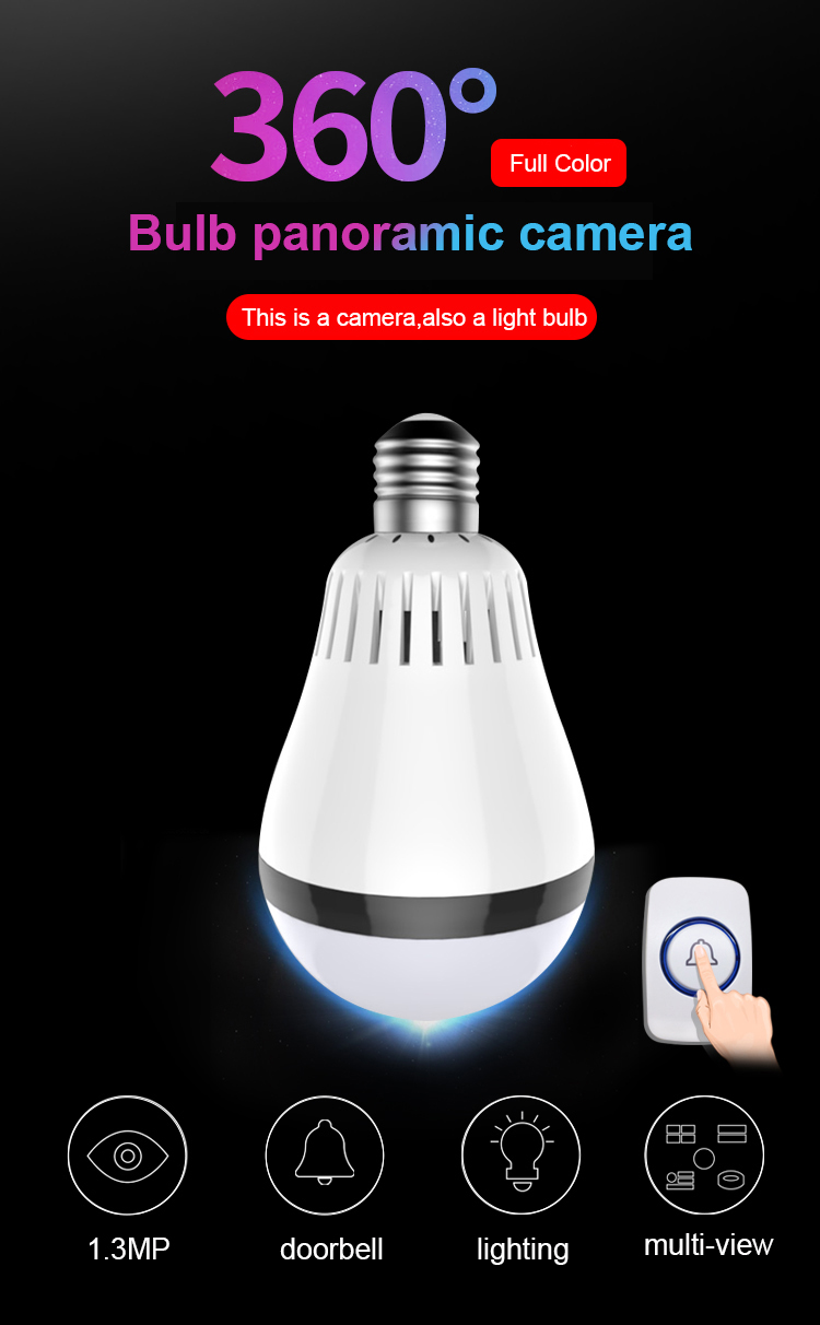 360 Degree Panoramic Bulb Fisheye VR Two Way Audio IR&White Light E27 WIFI 960P HD  Wireless Smart IP Camera360 Degree Panoramic Bulb Fisheye VR Two Way Audio IR&White Light E27 WIFI 960P HD  Wireless Smart IP Camera