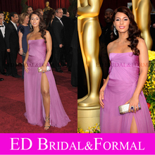 Alicia Keys Lila Kleid 81st Oscar-verleihung Oscar Roter Teppich Abendkleid Höhe Aufgeschlitzte Chiffon Abendkleid
