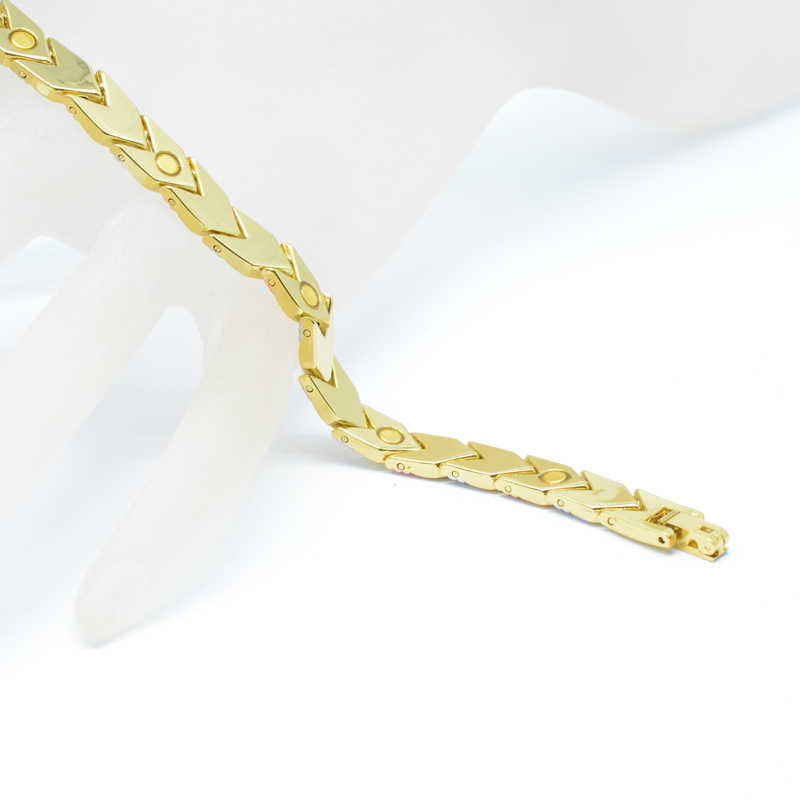 Vivari フィットネスシューズトレンディ健康磁気ブレスレット女性のための 3 トーン色ゴールドカラー矢印チャームブレスレットファッションギフトの新ジュエリー