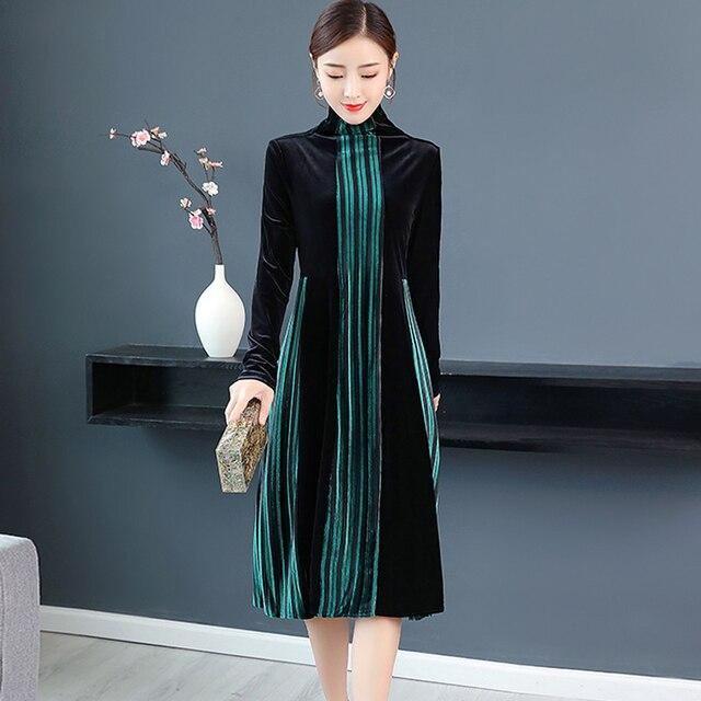 6e5b1696149 Green velvet dress women long sleeve plus size turtleneck winter autumn  midi robe dresses striped elegant vintage runway clothes