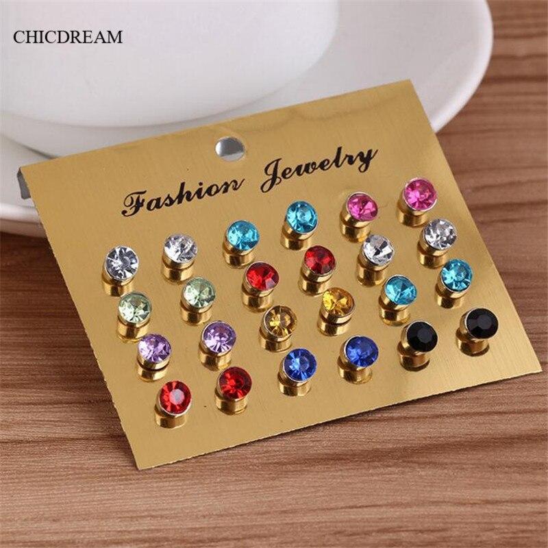 New 12 Pairs/lot Clear Crystal Zircon Stud Earrings Piercing Multicolor 2016 Fashion Earrings For Women Bijoux Jewelry Brincos