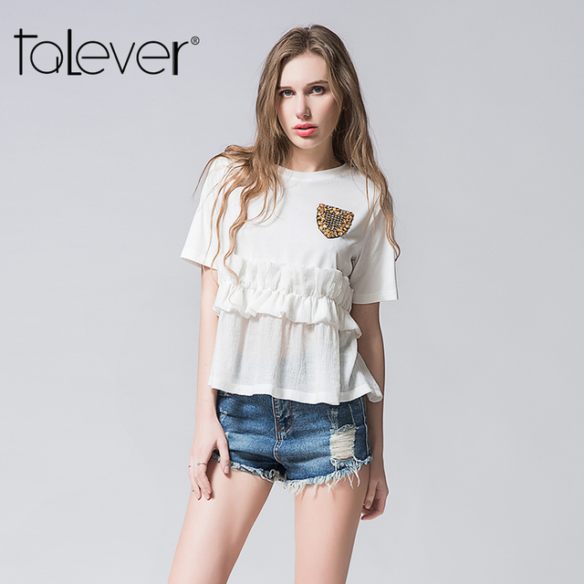 7af2519fa11c Talever 2017 Summer Autumn Sexy Fashion T-shirt White Casual Tees Tops For  Women Short Sleeve Ruffles XXL T- Shirts For Females