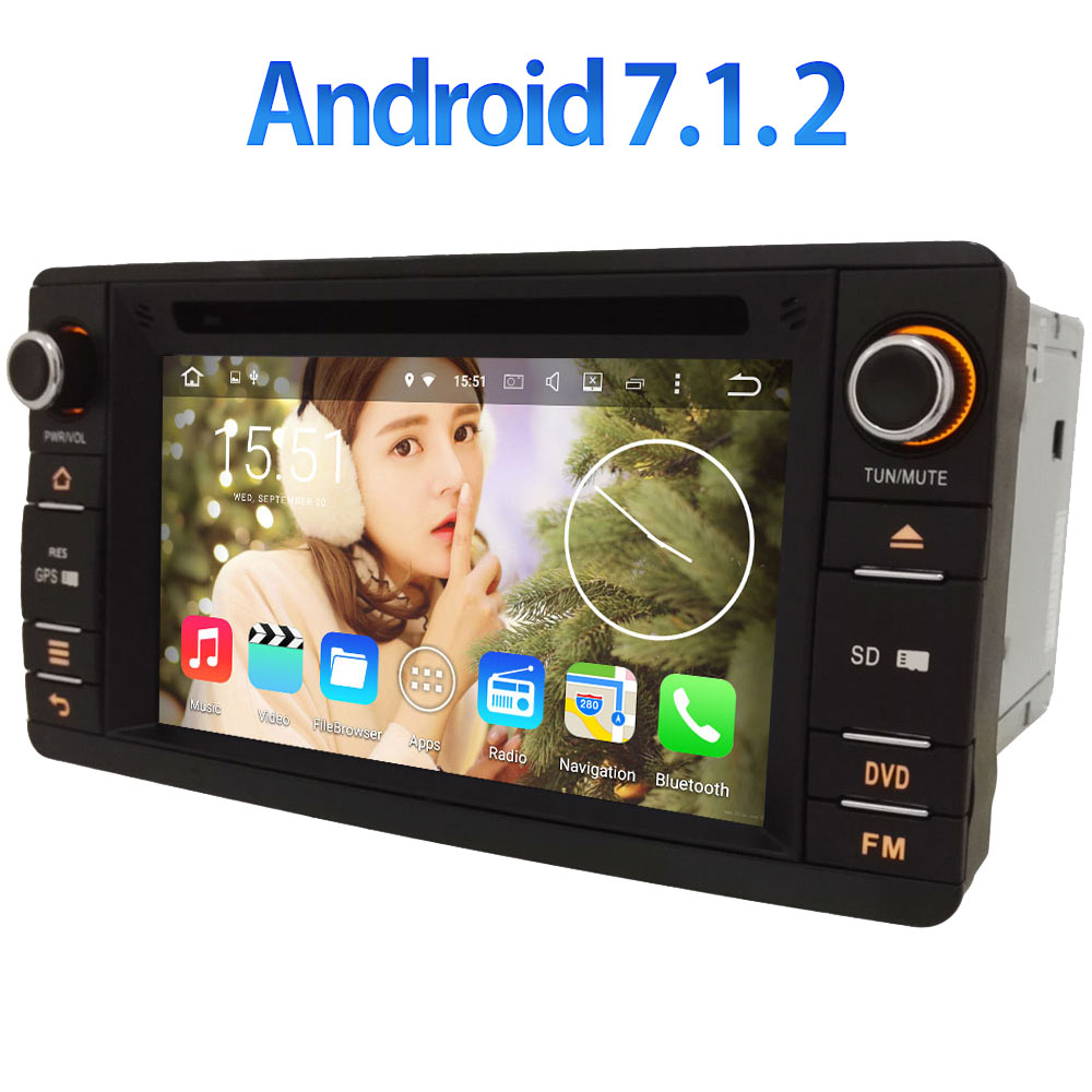 Android 7 1 2 Double 2 din Quad core 2GB RAM 1024 600 GPS Navi 4G