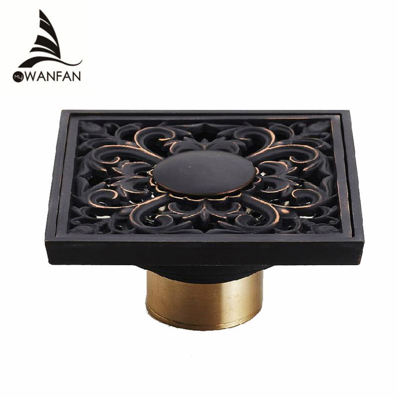 Drain 10cm Square Black Brass Shower Drain Strainer Floor Cover Art Carved Balcony Bathroom Bath Accessories Grate Waste SY-073R drains 10 10cm antique brass shower floor drain cover euro art carved bathroom deodorant drain strainer waste grate hj 8507s