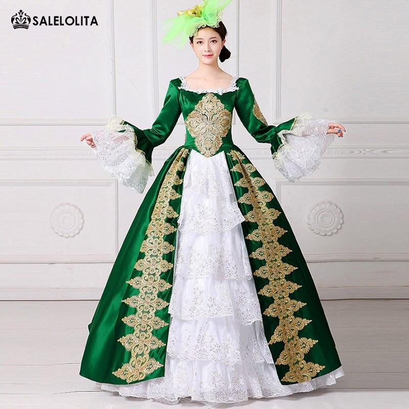 2017 royal green embroidery 18th century costume renaissance civil war southern belle dress. Black Bedroom Furniture Sets. Home Design Ideas