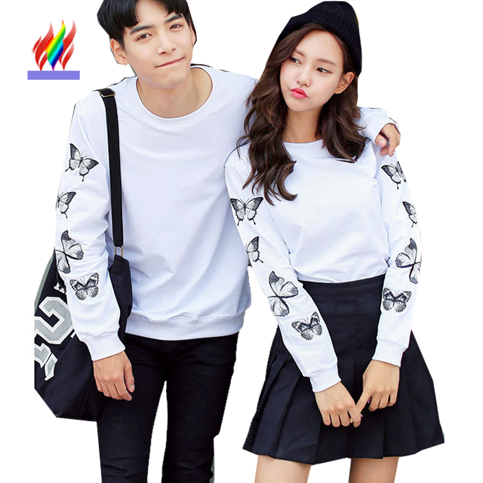 Lovers T Shirts Couple Clothes Autumn Winter Tops Casual Printed Floral Gray Black ...
