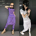 Designer brand Women 2 Pieces Clothing Set 2016 summer geometrical pattern diamond beaded Top Tee shirt+crotch Pants suit casual