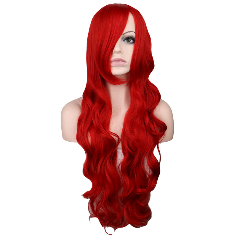 QQXCAIW Long Wavy Cosplay Dark Red 80 Cm Synthetic Hair Wigs