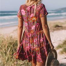2019 New Bohemian Red Daisy Floral Print Boho Dress V-neck Button Short Sleeve Summer Dresses Loose Chic Women Casual Mini Dress