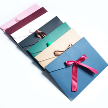3PCS / Kraft Paper Western envelope Wedding messaage Invitation Greeting Envelope Birthday Party postcard Bow Thank you