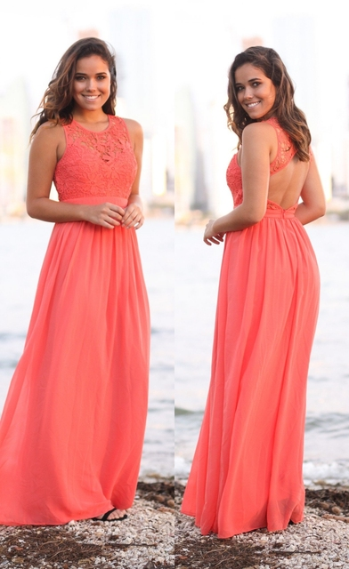 a8209841bb7 Coral Beach Bridesmaid Dresses Long Sleeveless 2017 New Lace Top Chiffon  Skirt Summer Wedding Party Gowns Formal Country Style