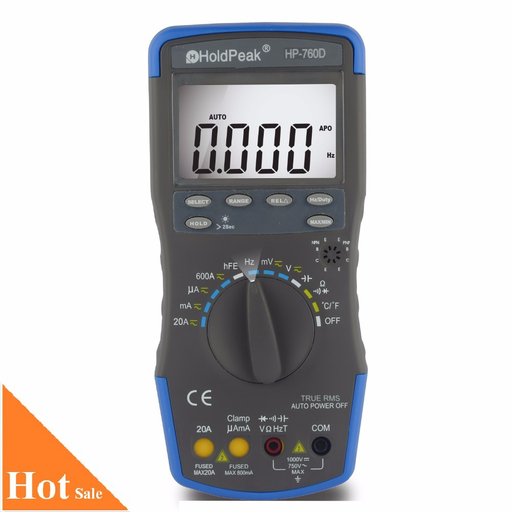 HoldPeak HP-760D True RMS Auto Ranging Digital Multimeter Meter with Min/Max Value/Frequency/Cuty Cycle Test and Carry Bag  цены