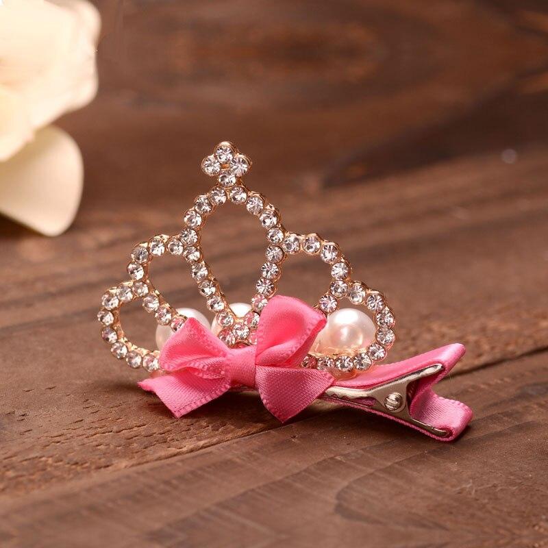 Bowknots Girls Small Tiara Hairpins Clear Rhinestone Crown Kids Hair Clip Crown Jewelry