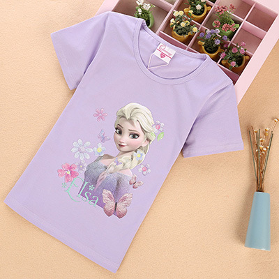 Disney Frozen Elsa Girl Cotton T-Shirt Children's Sofia Short Sleeve T-Shirt Summer Princess Girls Cartoon Tops