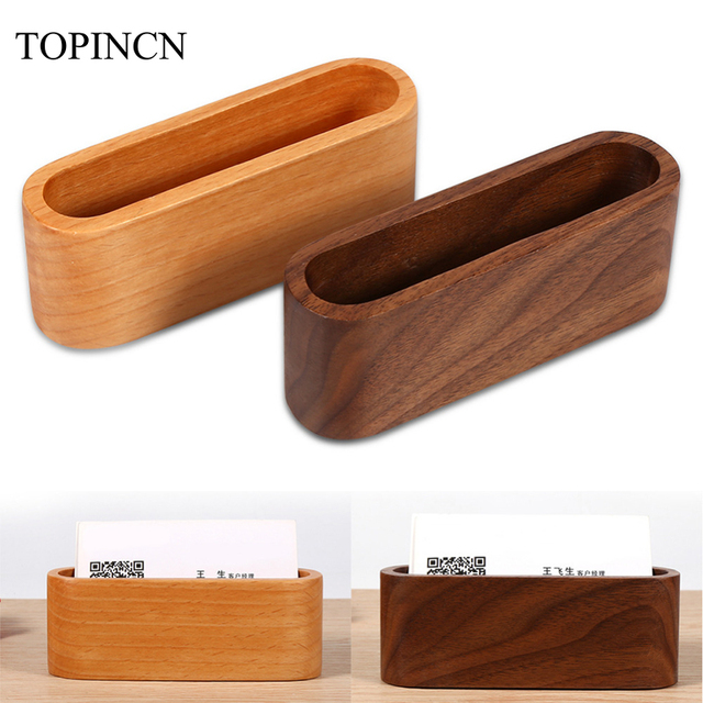 Wooden business card holder desktop display stand case storage box wooden business card holder desktop display stand case storage box office desk name card box display colourmoves