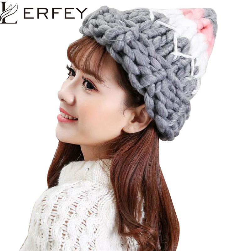 LERFEY Warm Patchwork Hats Casual Female Autumn Winter Hats Handmade Coarse Knitted Hat For Women Beanies Candy Color Caps sexy style round neck long sleeve voile splicing women s crop top