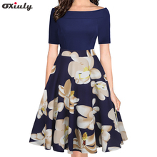 Oxiuly Floral Print Dress Sexy Off the Shoulder Patchwork Casual Vintage Swing Dresses Elegant Party Vestidos Mujer
