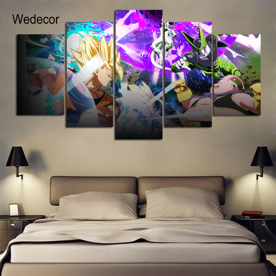 5 Pieces Hd Canvas Print Paintings Dragon Ball Z Wall Art Anime Kid S Bedroom Poster Picture Modular Home Decor Wd 1794 In Painting Calligraphy From