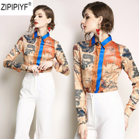 High Qality 2018 Spring Fashion Vintage Print Blouse Women Turn Down Collar Long Sleeve Button Down Casual Blouse Shirt C1156