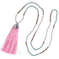 C QUAN CHI Jewelry Cute Pink Long Tassel Pendant Necklace AB Crystal Beads Strand Long Chain