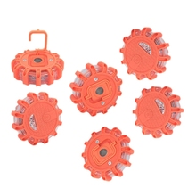 6 Pack Led Road Flares Flashing Warning Light Roadside Emergency Disc Beacon With Magnetic Base For Car Marine Boat