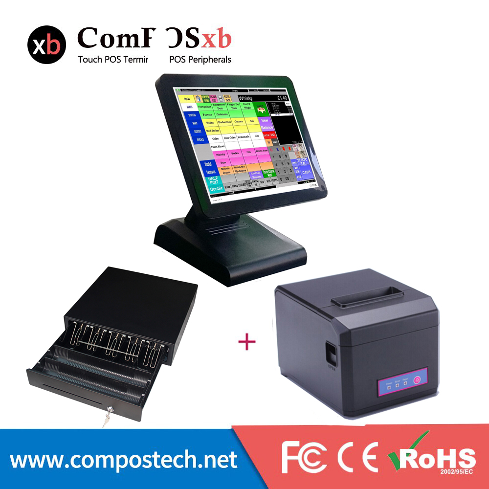 Competitive price 15 inch Epos system Point of Sale pos all in one windows with cash drawer and printer цены