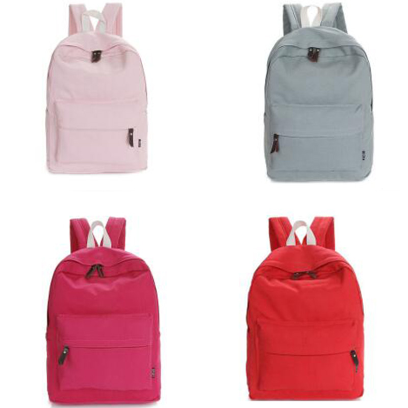 preppy style women backpacks canvas candy color college student ...