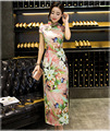 Vintage Traditional Pattern Chinese Cheongsam Dress Women's Short Sleeve Sexy Long Qiapo Top S M L XL XXL