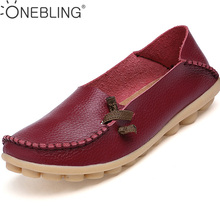Hot Sale Genuine Leather Women Shoes 2017 Fashion Lace up Casual Flat Shoes Peas Non-Slip Outdoor Shoes Plus Size 34 -44(China)