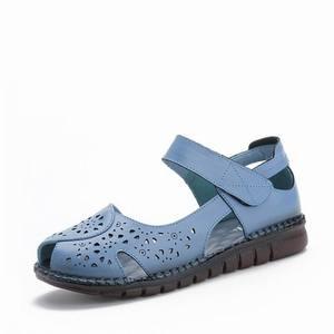 Image 2 - GKTINOO letnie nowe ręcznie robione buty damskie w stylu narodowym oryginalne skórzane sandały damskie Hollow miękkie płaskie z sandałami