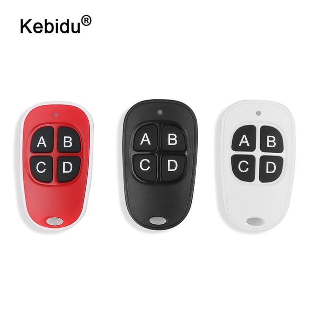 Kebidu 4 cores quente sem fio 433mhz controle remoto código de cópia remoto 4 canais portão clonagem elétrica porta da garagem chaveiro automático