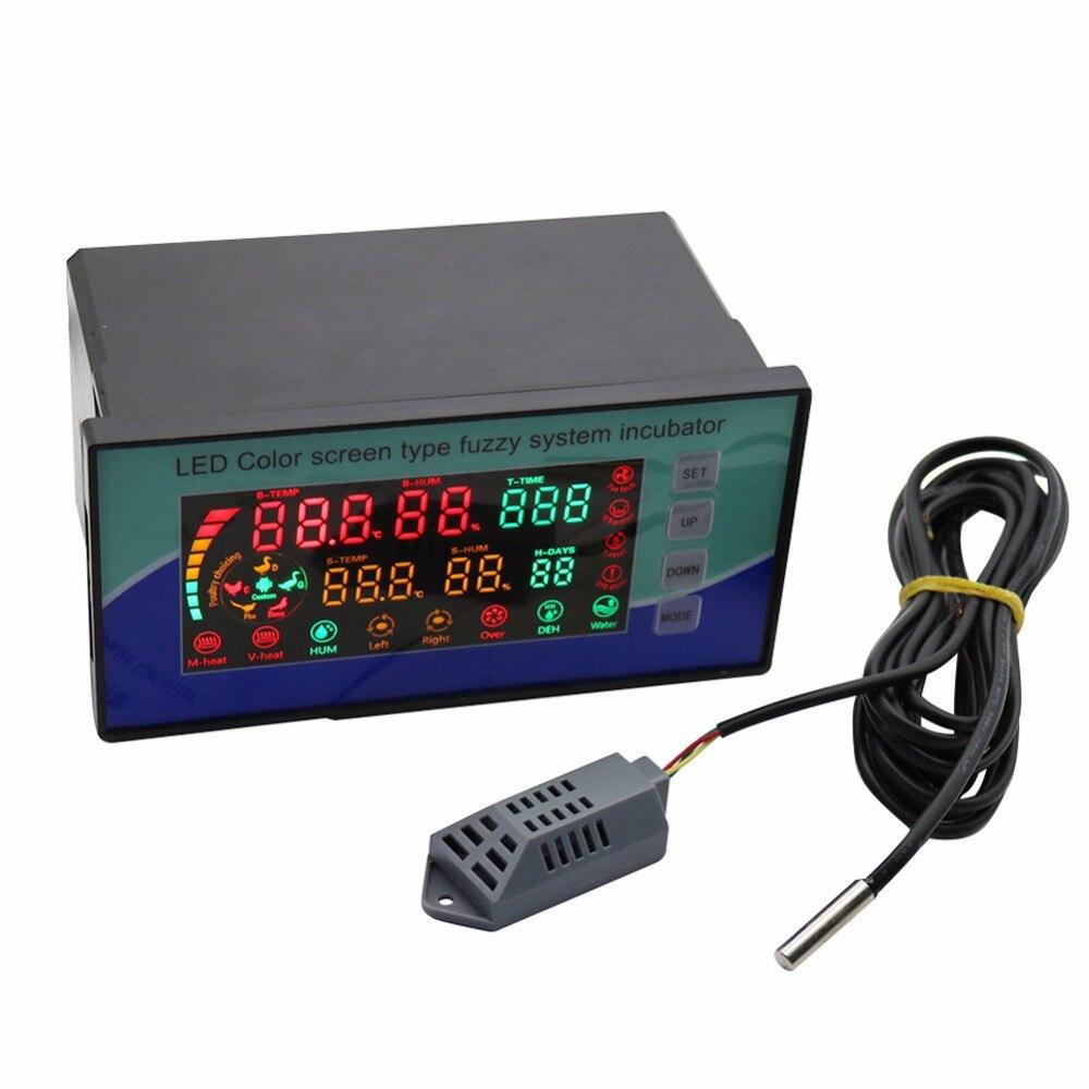 Controlador Inteligente de Temperatura E Umidade da Incubadora de aves de capoeira Equipamentos de Incubação de Frango Pássaro LED Color Display 180-220 v