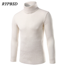 Hot Sale Fashion Casual Men Sweater Turtleneck Pullover Men Knitwear Sweaters Slim Fit High Collar Sweater Brand Clothing