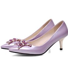 Brand New Spring Autumn Sexy Women Glossy Pumps Black Pink Lavender Ladies Dress Shoes Med Heels AHM5583 Plus Big Size 34 42