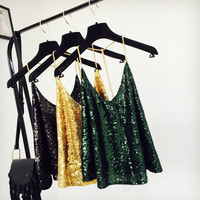 Women Sequins Camis Metal Strappy Camisole Shiny Glitter Sexy Backless Vest Tank Top Sleeveless Pleated Solid