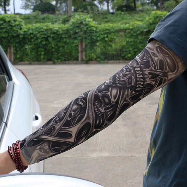 Fake Temporary Tattoo Sleeves Tattoos Full Long Slip On Arm Tattoo Sleeve Kit Men Elastic Nylon Glove Tattoos black skull design 1