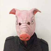 Wholesale Masquerade Horror Prom Full Face Mask Halloween Cosplay Animal Head Pink Pig For Adults