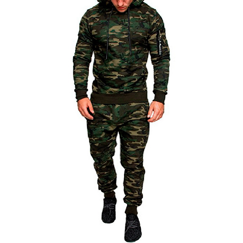 Two Pieces Sets Quick Drying Outdoor Tracksuit Strengthening Sinews And Bones pants+tops Painstaking Calofe Sports Running Sets Men Camouflage Hoodie Workout Suits Slim