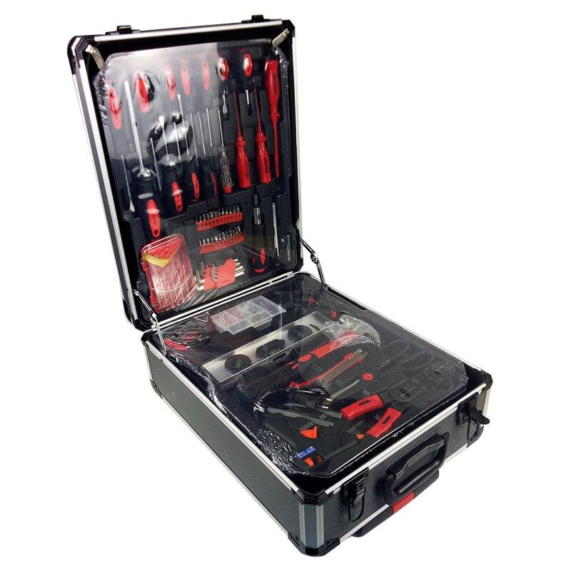 送料無料 186 ピース/セット CR-v 鋼車の修正ツール家庭用ツールセットハンドツールセットアルミ合金ドローバーボックス