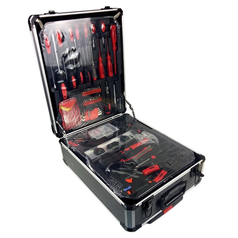 Gratis verzending 186 stks/set CR-v staal auto fix tool huishoudelijke tool set hand tool sets in aluminium legering draw-bar doos