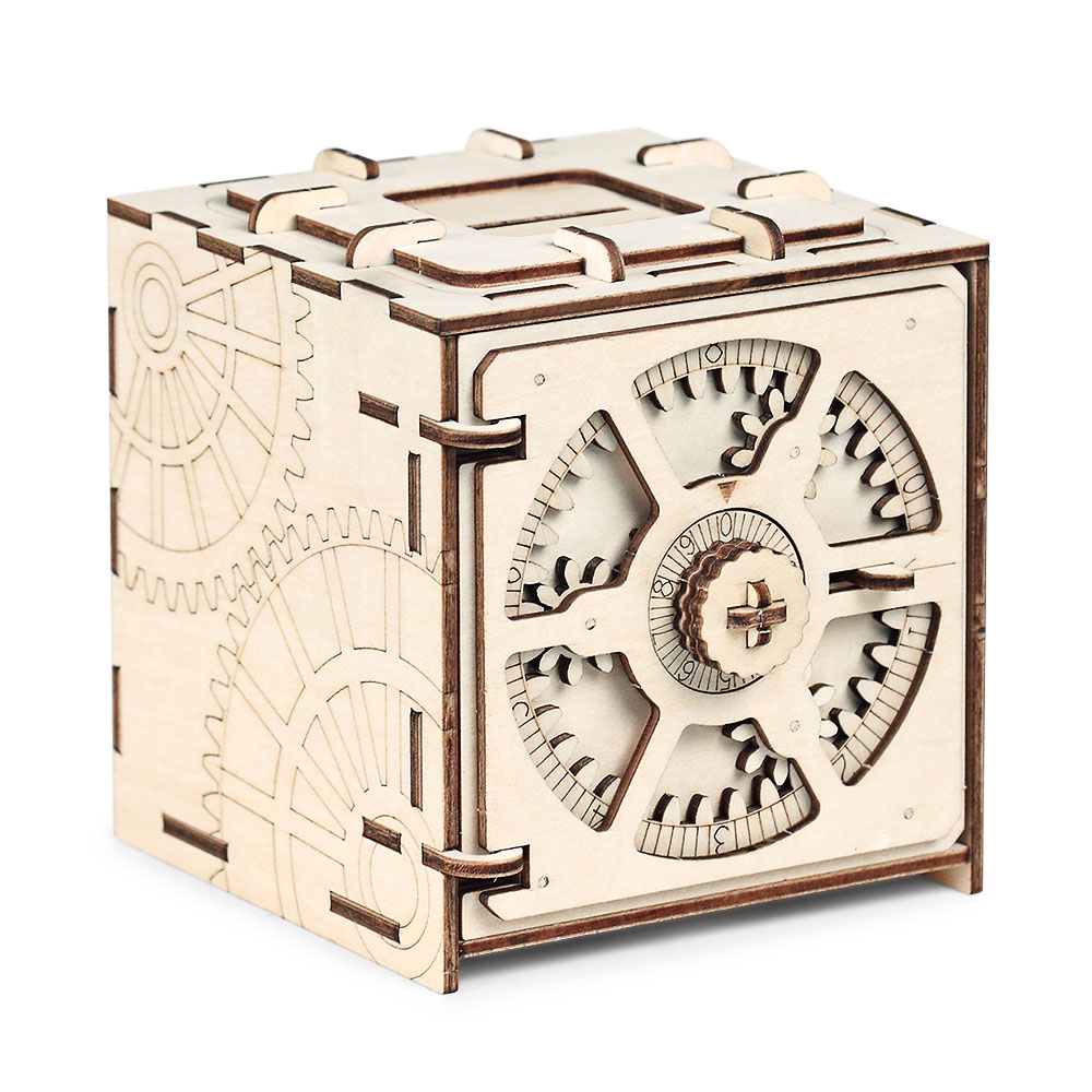 Cipher Code Deposit Box Mechanical Wooden Model 3D Puzzle Educational Toys Kids Gift Cipher Code Deposit Box
