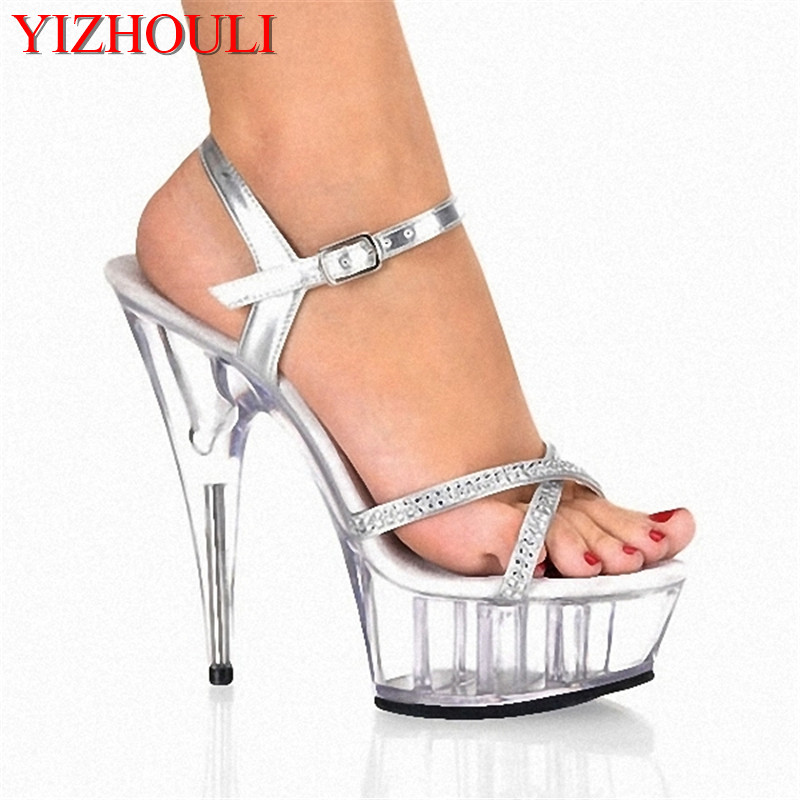 New/shiny new stage sandals/nightclub performance shoes/sex shoes 15cm high heels Dance Shoes new